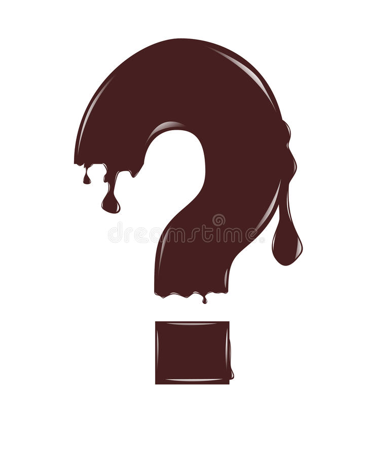 Chocolate question mark. Illustration, thawing chocolate question mark isolated on the white royalty free illustration