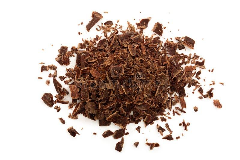 Chocolate raspado isolado no fundo branco Vista superior imagens de stock