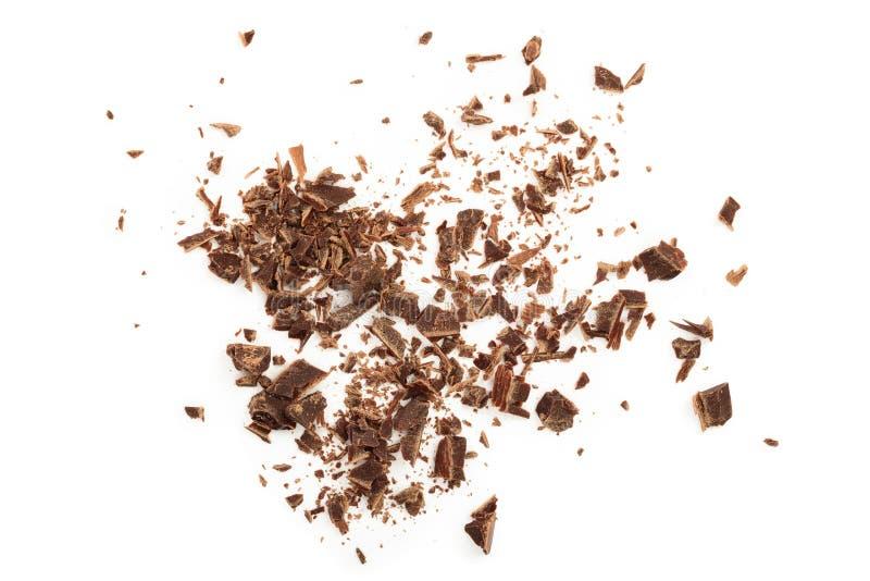 Chocolate raspado isolado no fundo branco Vista superior fotos de stock