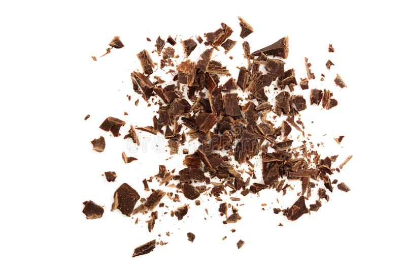 Chocolate raspado isolado no fundo branco Vista superior foto de stock