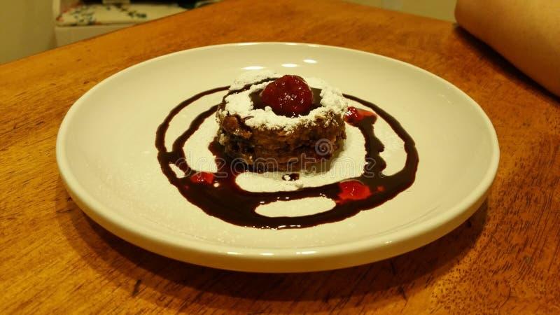 Chocolate raspberry cheese cake stock photos