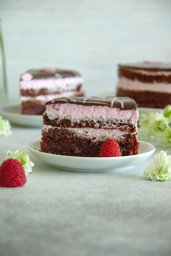 Chocolate and raspberry piece of cake on a white plate with white flowers and fresh berries stock images
