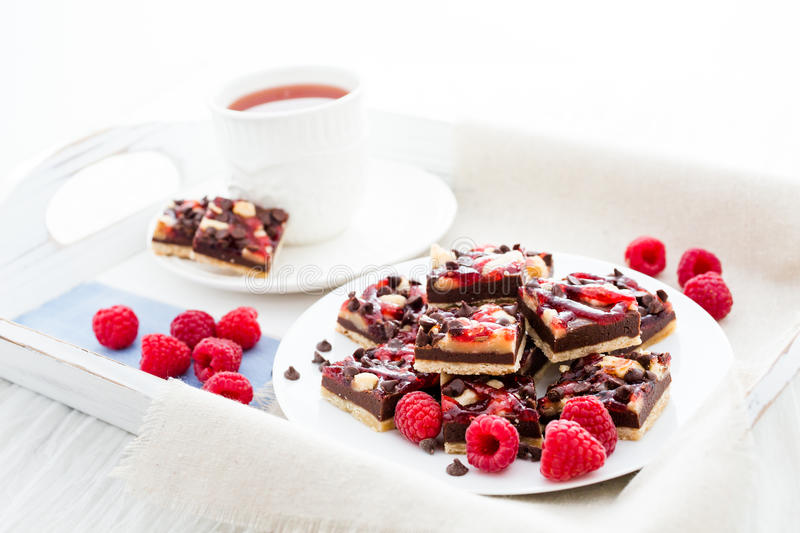 Chocolate raspberry squares royalty free stock photography