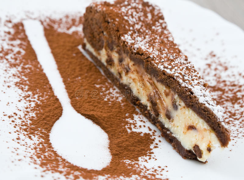 Chocolate ricotta cake. Close up of chocolate ricotta cake stock image