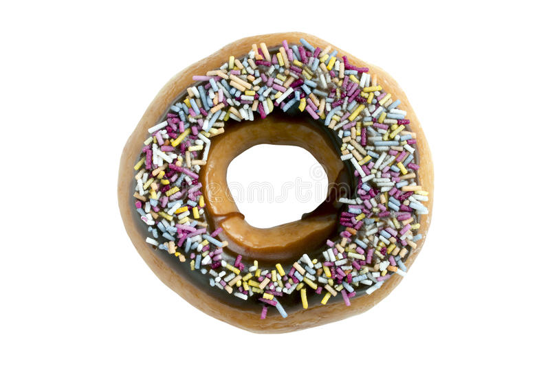 Chocolate Ring Donut Covered With Sprinkles imagem de stock