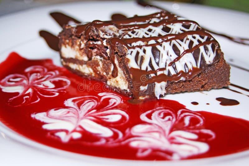 Chocolate roll with cherry jam