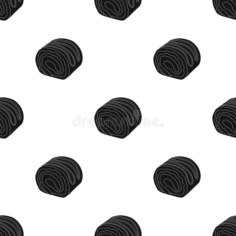Chocolate roulade icon in black style isolated on white background. Chocolate desserts symbol stock vector illustration. Chocolate roulade icon in black design vector illustration