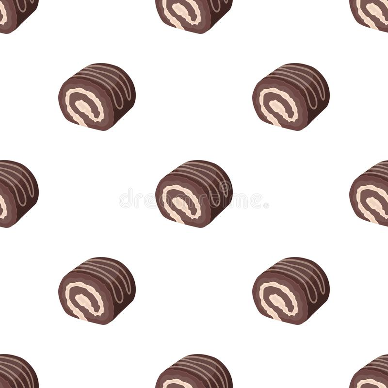 Chocolate roulade icon in cartoon style isolated on white background. Chocolate desserts symbol stock vector. Chocolate roulade icon in cartoon design isolated royalty free illustration