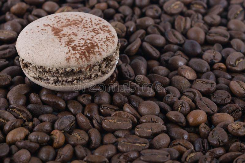 Chocolate round biscuits on a background of coffee beans stock photos