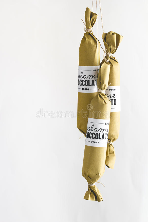 Chocolate salami stock image