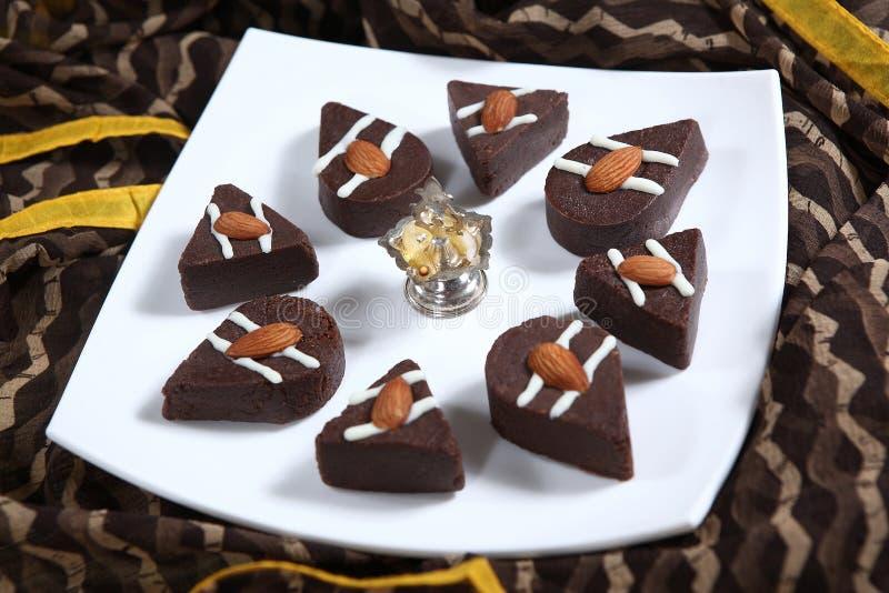Chocolate Sandesh, confitería del bengalí del chocolate fotos de archivo