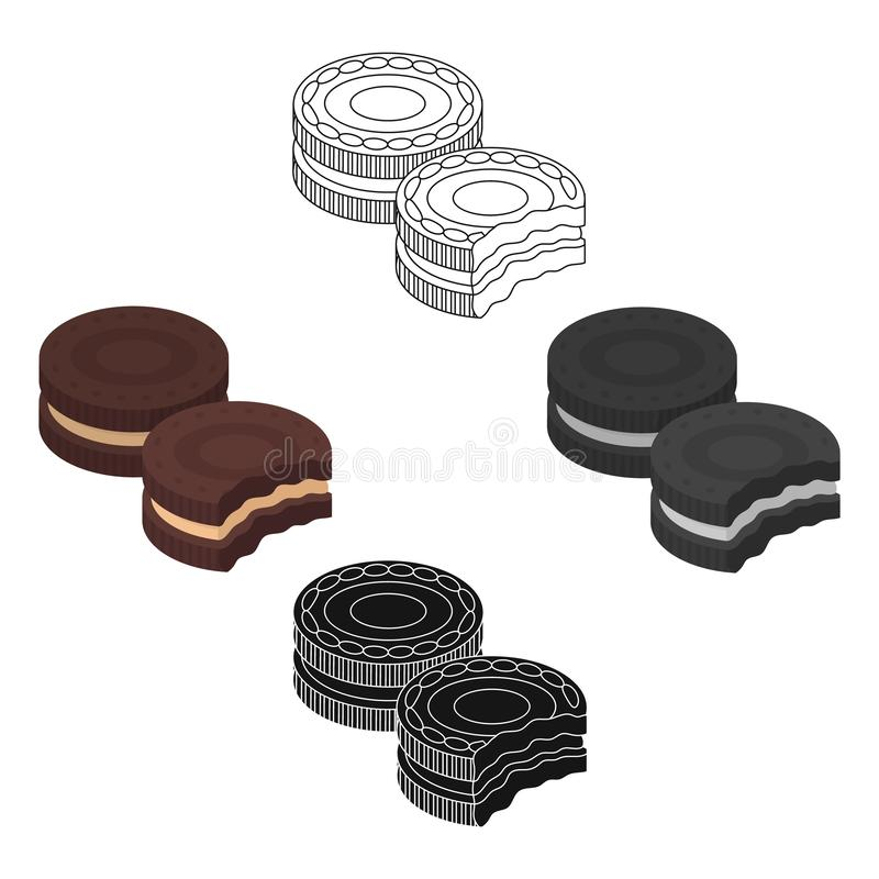 Chocolate sandwich cookies icon in cartoon style isolated on white background. Chocolate desserts symbol stock vector. Chocolate sandwich cookies icon in cartoon stock illustration