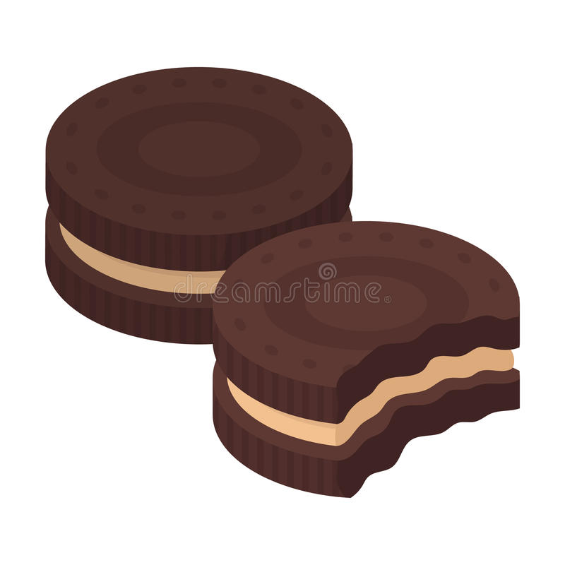 Chocolate sandwich cookies icon in cartoon style isolated on white background. Chocolate desserts symbol stock vector vector illustration