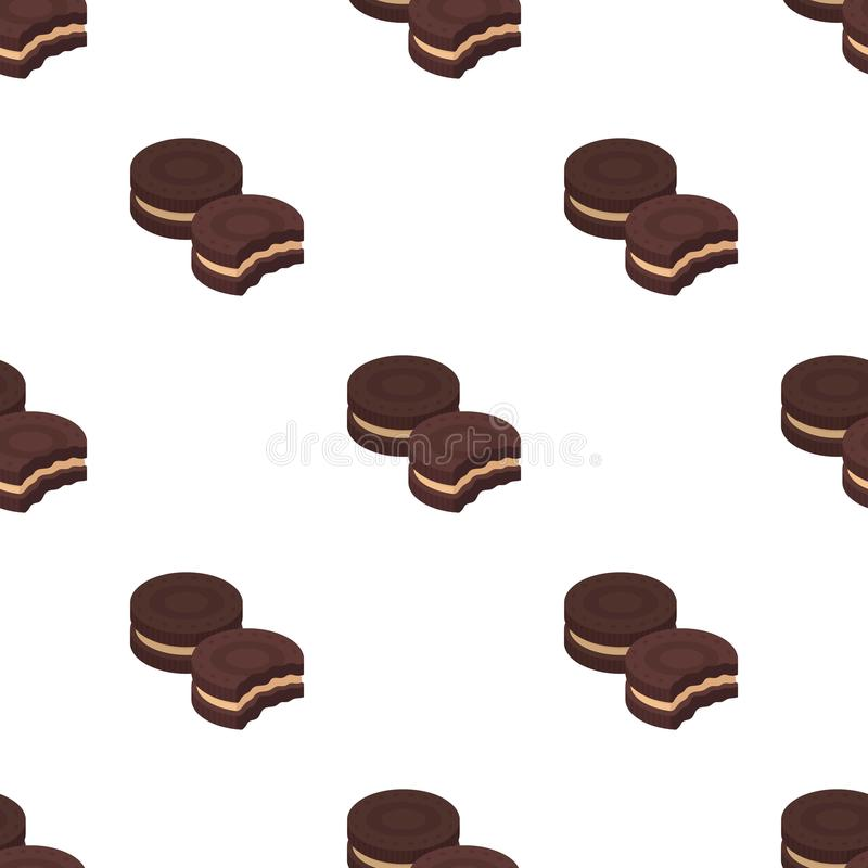 Chocolate sandwich cookies icon in cartoon style isolated on white background. Chocolate desserts symbol stock vector. Chocolate sandwich cookies icon in cartoon royalty free illustration