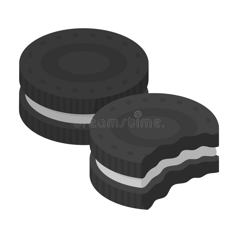 Chocolate sandwich cookies icon in monochrome style isolated on white background. Chocolate desserts symbol stock vector. Chocolate sandwich cookies icon in royalty free illustration