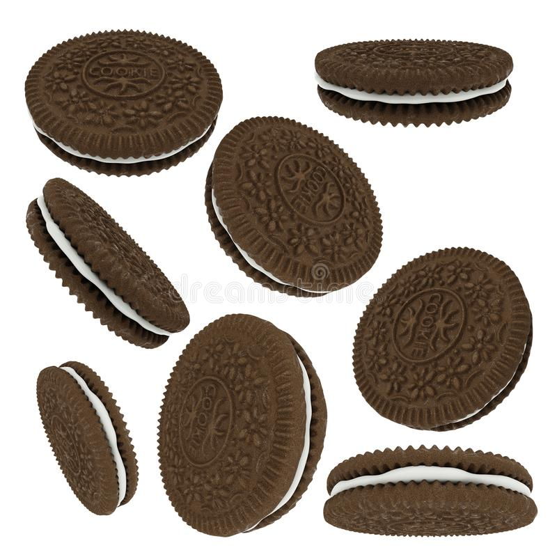 Chocolate sandwich cookies isolated on white background stock illustration