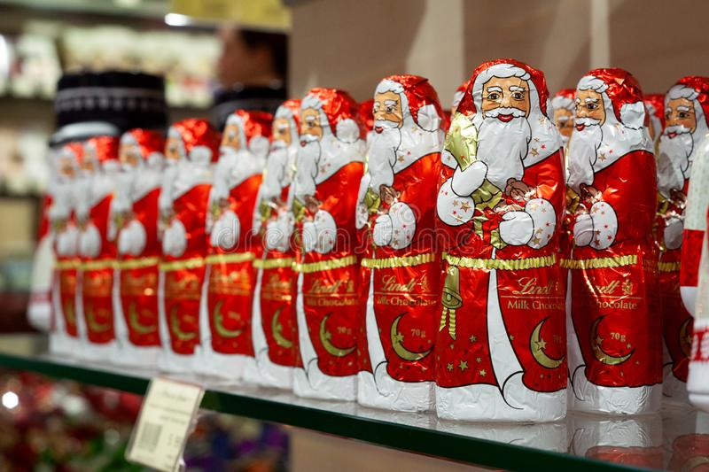 MINSK, BELARUS - November 22, 2019: Chocolate Santa Claus by Lindt ready for Christmas Presents for Sale in a Shop stock photo