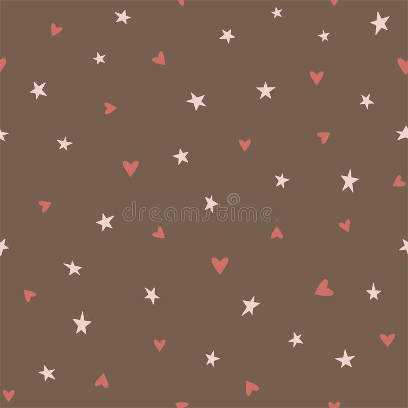 Chocolate seamless pattern with hearts and stars on a brown background. Vector. royalty free illustration