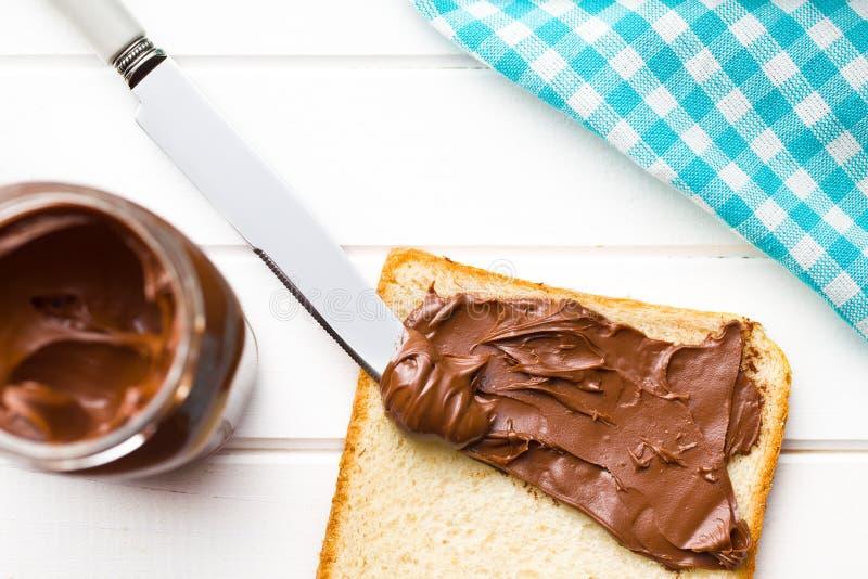 Chocolate separado con pan fotografía de archivo