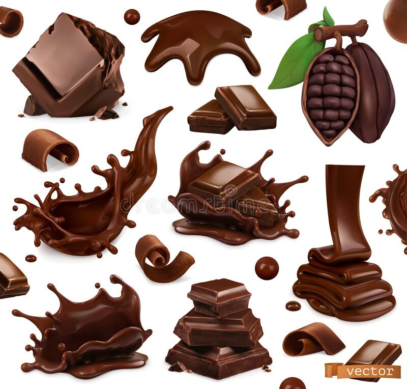 Free Chocolate Set. Splashes, Pieces And Chocolate Shavings, Cocoa Bean. 3d Vector Objects. Food Illustration Royalty Free Stock Photos - 178477478