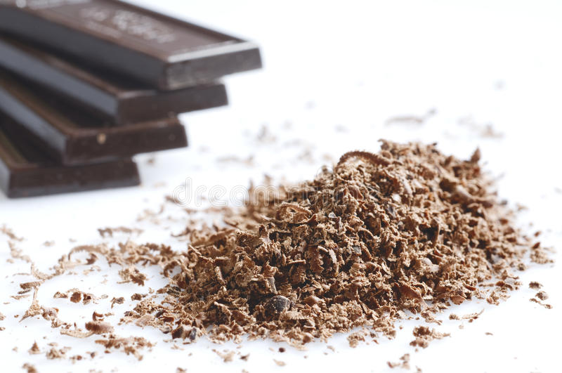 Chocolate shavings stock images