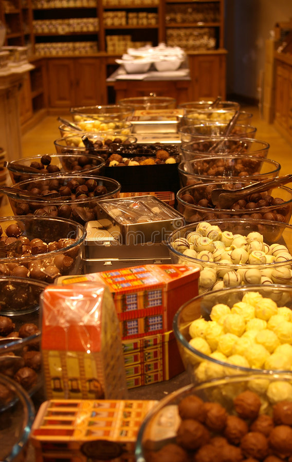 Chocolate shop stock images