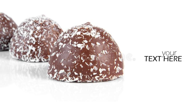 Chocolate with snow flakes. And copy space stock photography