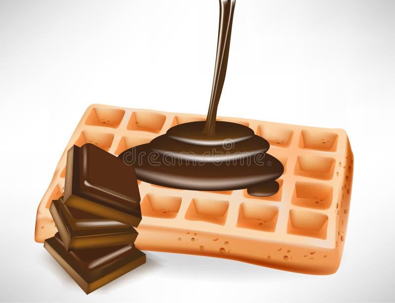 Chocolate sobre o waffle belga ilustração stock