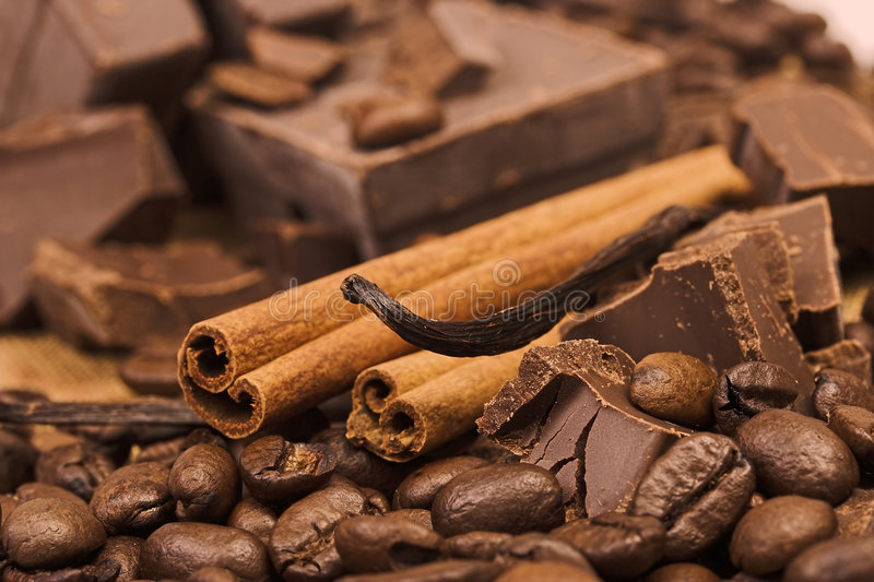 Chocolate and spices stock image