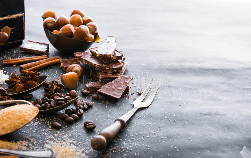 Chocolate, spices stock image
