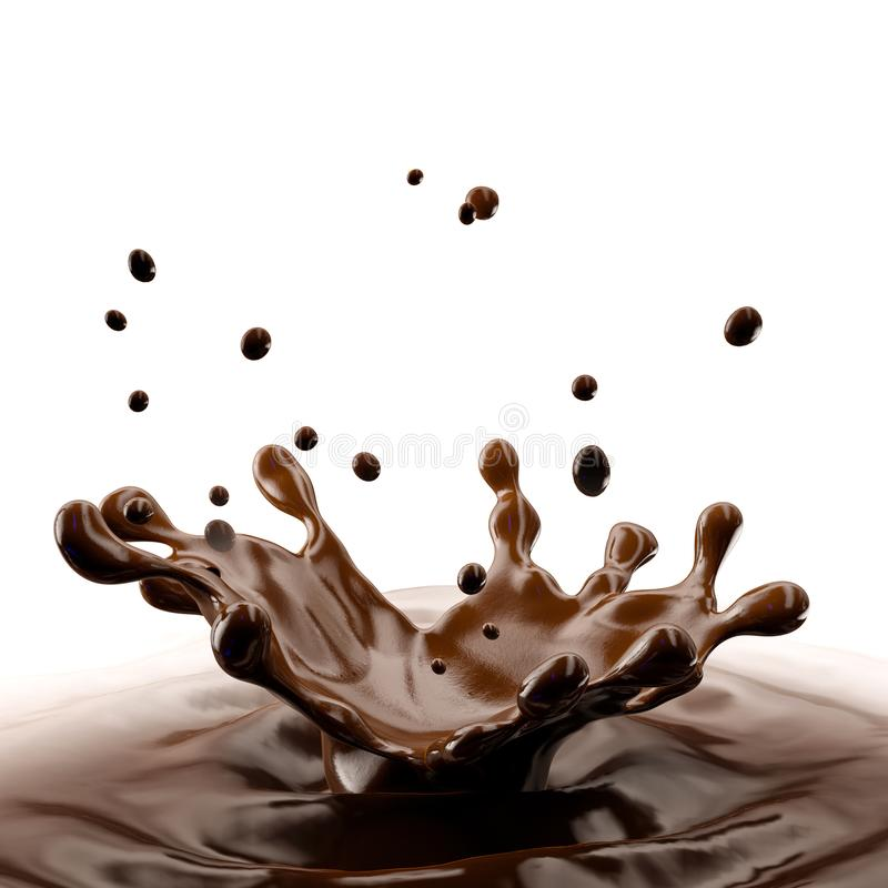 Chocolate splash with droplets isolated. 3D illustration. Chocolate splash with chocolate droplets isolated on white background. Clipping path included. 3D vector illustration