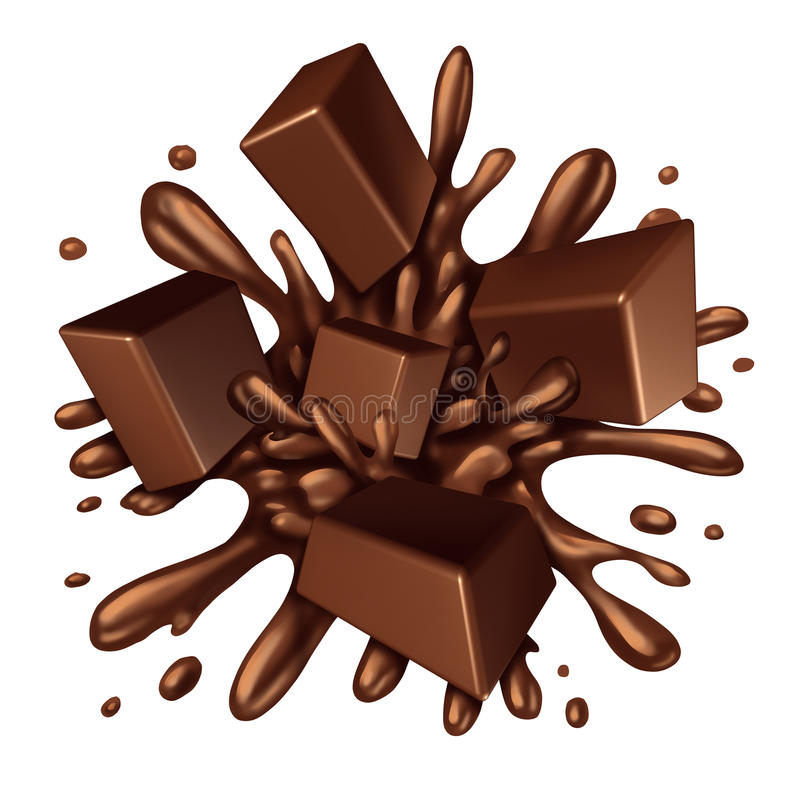 Chocolate Splash. Liquid with chunks of melting candy exploding with a blast of dripping sweet brown syrup isolated on a white background as a food ingredient stock illustration