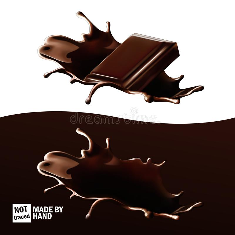 Chocolate splashes, piece of chocolate thrown in hot chocolate. Realistic vector set, isolated design elements royalty free illustration