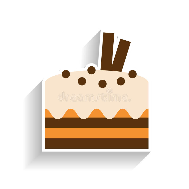Chocolate sponge cake with whipped cream. Flat color icon, object of fast food and snack. royalty free illustration
