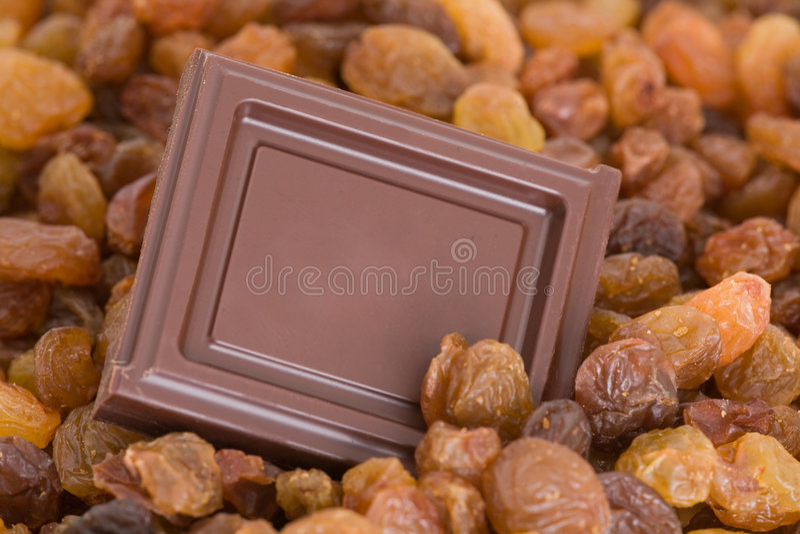 Chocolate square with raisins stock photo