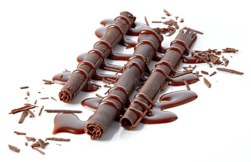 Chocolate sticks and chocolate sauce royalty free stock photo