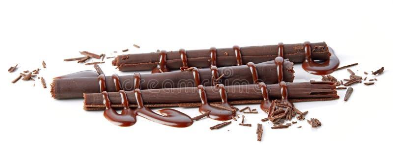 Chocolate sticks and chocolate sauce stock photo