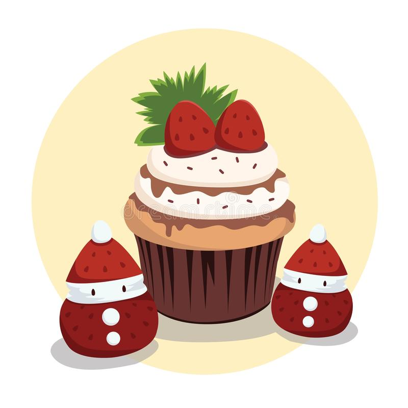 Chocolate and Strawberry Cup Cake royalty free illustration