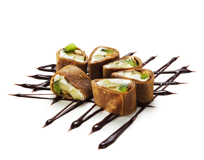 Chocolate Sushi Roll stock photo