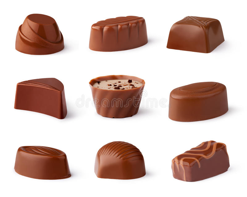 Chocolate sweets collection stock photos