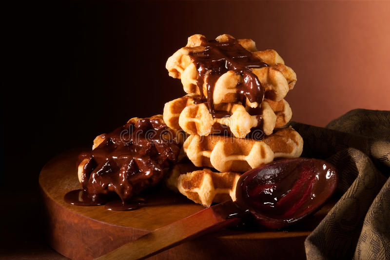 Chocolate Syrup And Belgian Waffles Royalty Free Stock Image