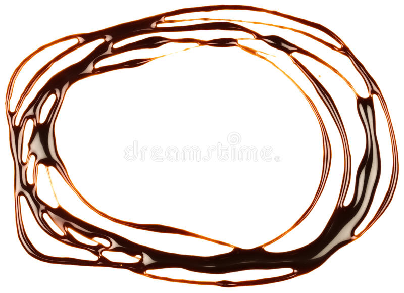 Chocolate syrup drip, frame. Is isolated on a white background stock photography