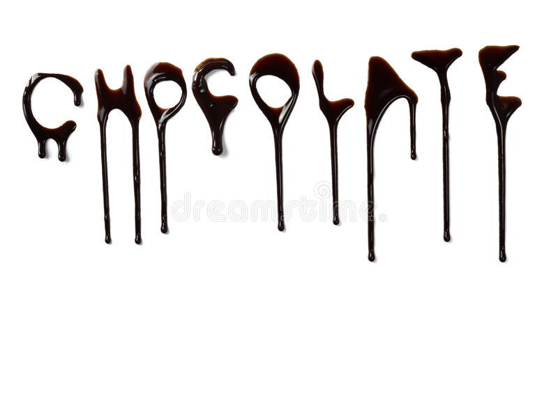 Chocolate syrup leaking liquid sweet food letters. Close up chocolate syrup letters leaking on white background stock photos