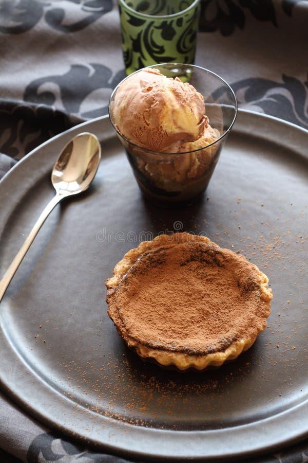 Chocolate Tart And Ice Cream royalty free stock image