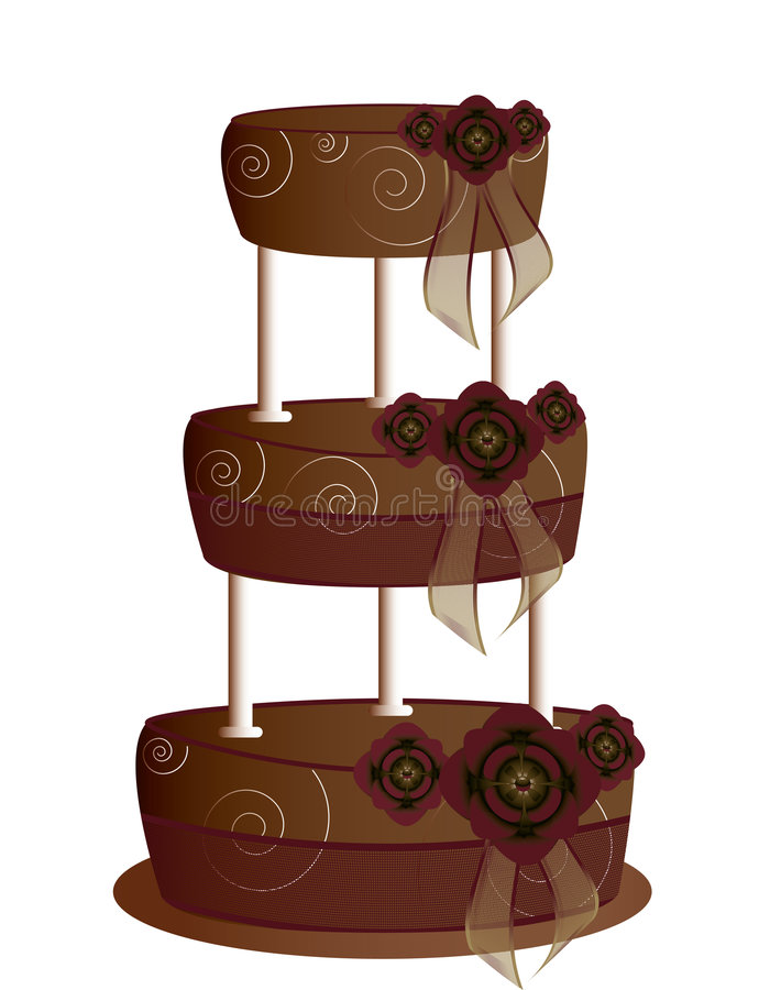 Chocolate tier cake isolated. On a white background royalty free illustration