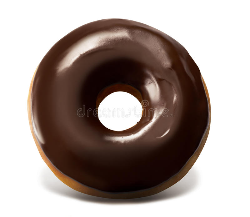 Chocolate Top Doughnut. Full Chocolate Top Doughnut in White Background stock photography