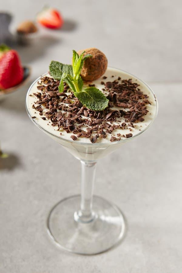 Chocolate Truffle Panna Cotta stock photos