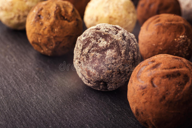 Chocolate truffle,Truffle chocolate candies with cocoa powder.Ch stock image