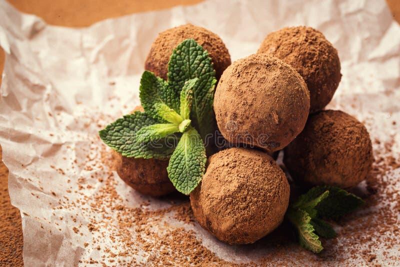 Chocolate truffle,Truffle chocolate candies with cocoa powder.Homemade fresh energy balls with chocolate.Gourmet assorted truffle stock photo
