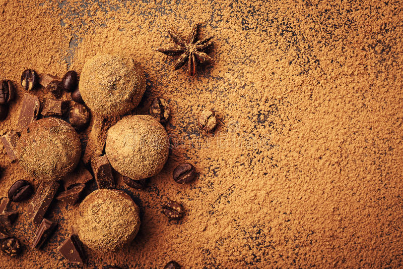 Chocolate truffle,Truffle chocolate candies with cocoa powder.Ho royalty free stock photo